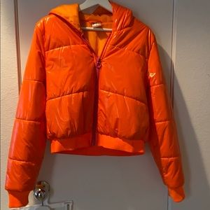 Adidas Neon orange puffer jacket size M